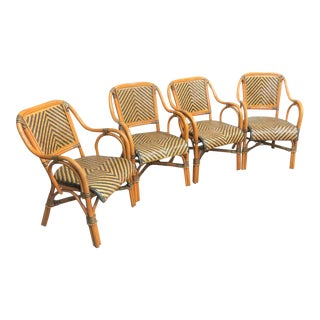 Mid Century Rattan Basket Weave Arm Chairs- Set or 4 For Sale