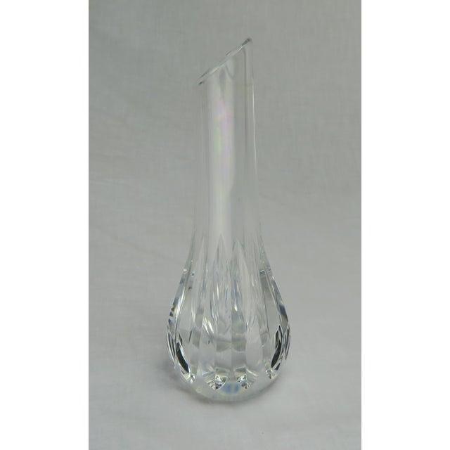 """Baccarat cut crystal bud vase stamped """"Baccarat"""" on bottom."""