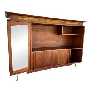 1960s Mid Century Modern Cabinet Tambour Doors For Sale