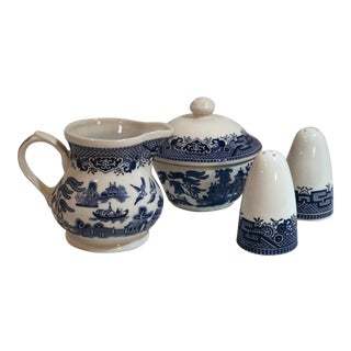 Churchill Blue Willow - Blue and White Cream and Sugar Salt and Pepper Set - 4 Pieces For Sale