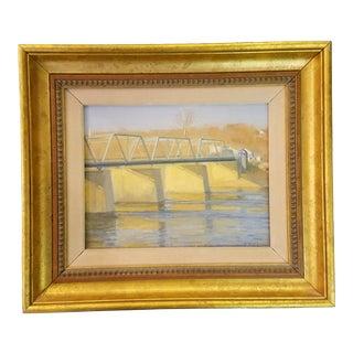 "Vintage Mid-Century Alexander Farnham ""Bridge to Stockton"" Impressionist Oil on Board Painting For Sale"