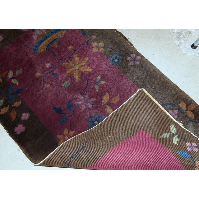 Red 1920s Handmade Antique Art Deco Chinese Rug 1.10' X 3.10' For Sale - Image 8 of 10