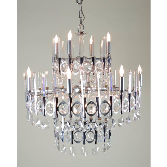 Mid-Century Modern Gaetano Sciolari Large Three-Tier Modernist Crystal Chandelier, Italy, 1960s For Sale - Image 3 of 9