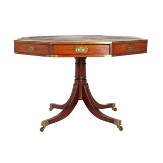 English Regency Drum Table With Campaign-Style Hardware / Filttings For Sale