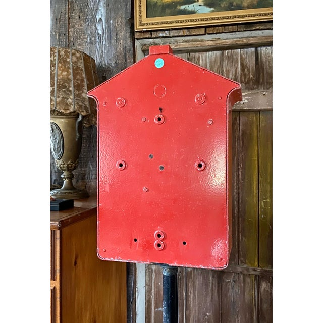 Mid-1900s Red Gamewell Cast Iron Fire Alarm Master Box W/ Western Electric Phone For Sale - Image 4 of 13