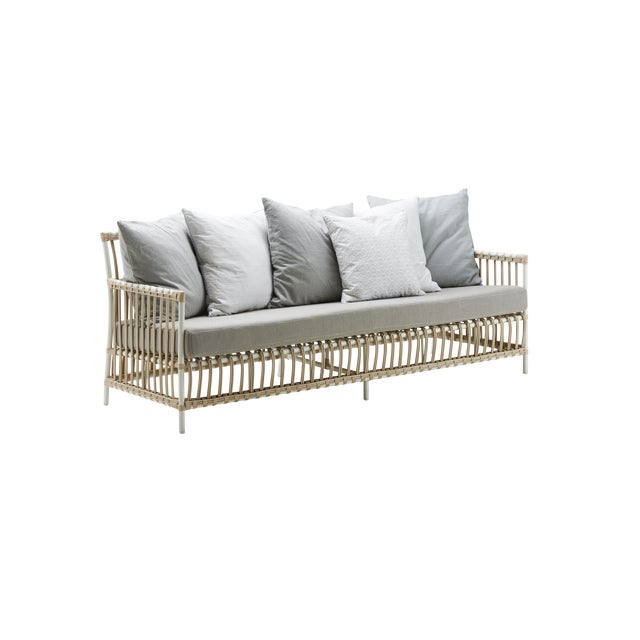 Caroline Exterior 3-Seater Sofa - Dove White - Tempotest White Canvas Seat and Back Cushions For Sale - Image 9 of 10