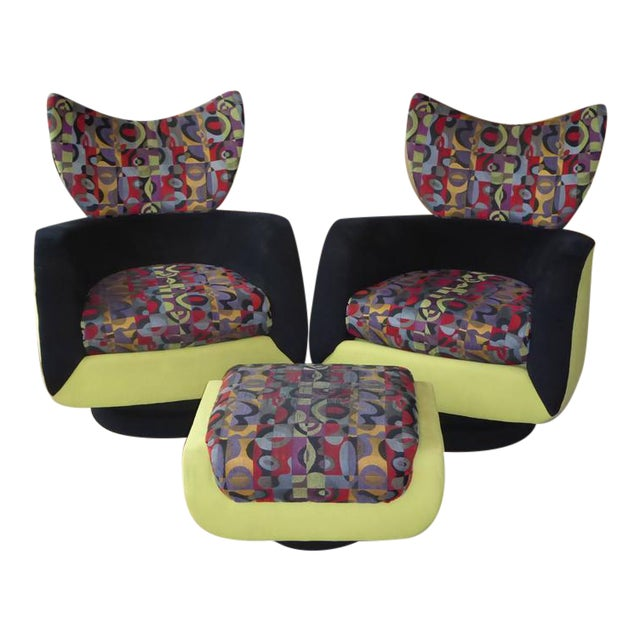 Pair of Vladimir Kagan Lounge Chairs for Directional with Ottoman - Image 1 of 9