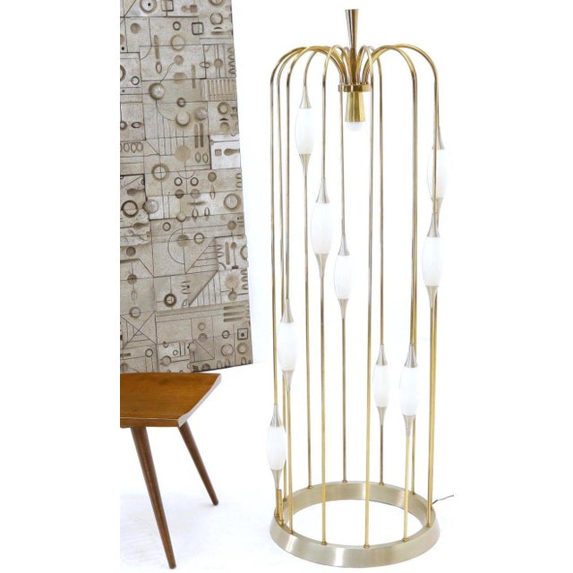 Large Waterfall Brass Floor Lamp Light Fixture For Sale - Image 4 of 12