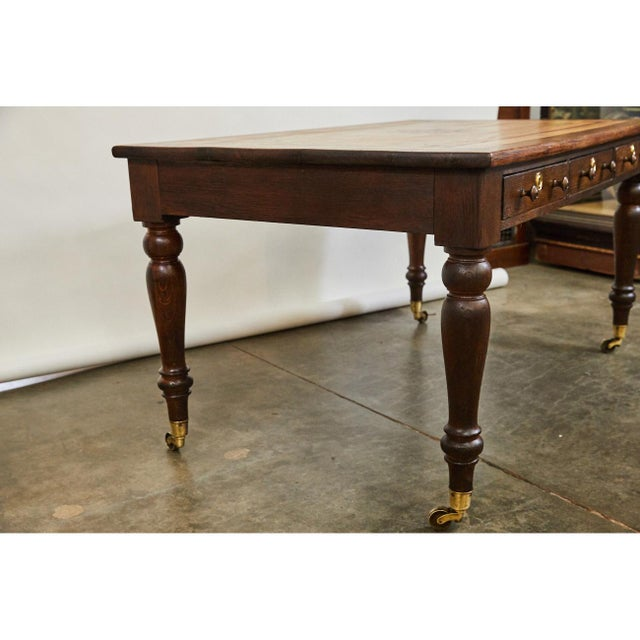 English Traditional English Oak Writing Table With Inlaid Top For Sale - Image 3 of 9
