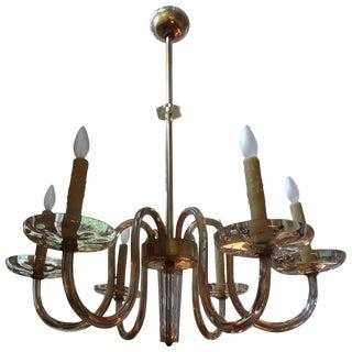 1940's Seguso Murano Glass Six Light Chandelier For Sale