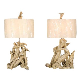 Restored Pair of Large-Scale Vintage Driftwood Lamps in Gesso For Sale