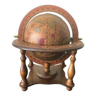 Antique Wood World Zodiac Globe, Norleans Japan For Sale
