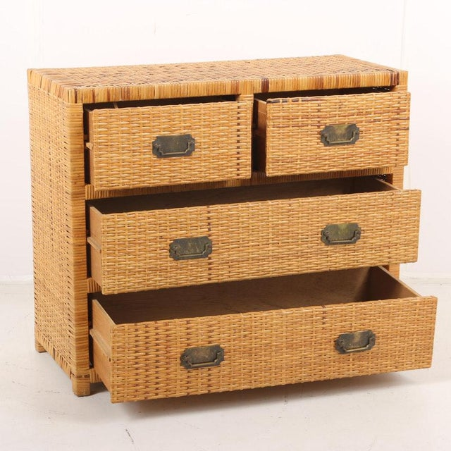 Lacquered Rattan Bachelor Chest (Pair Available) For Sale - Image 11 of 13
