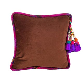 Brown / Navajo Road Velvet Throw Pillow For Sale