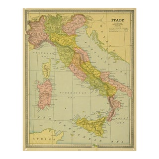 Vintage Map of Italy, 1890 For Sale