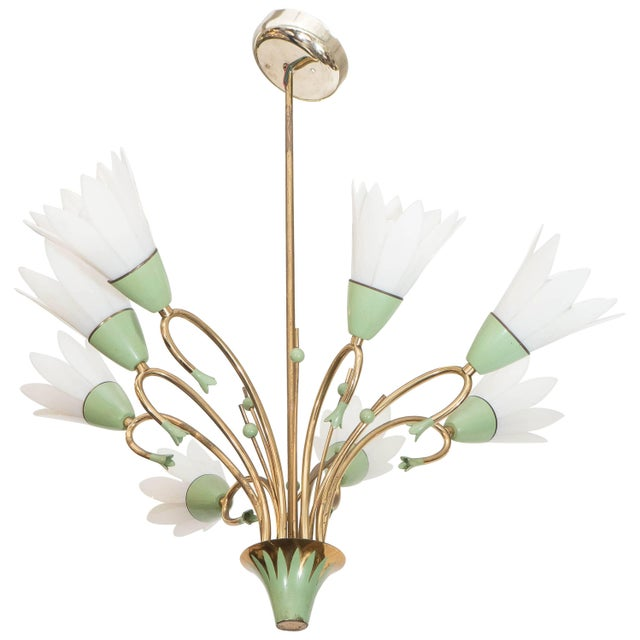 Light Green 1960s Floral Eight-Light Chandelier For Sale - Image 8 of 8