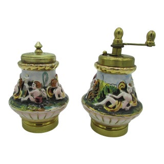 Vintage Italian Capodimonte High Relief Gold Gilded Salt Shaker & Pepper Mill For Sale