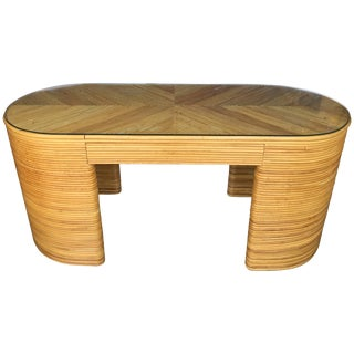 Paul Frankl Style Mid-Century Modern Oval Reed Bamboo Console Desk For Sale