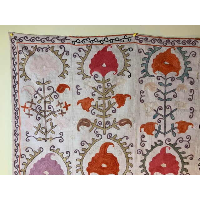 Antique Suzani Panel Wall Hanging For Sale In Miami - Image 6 of 13