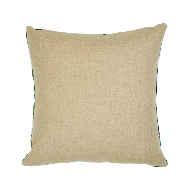 "This 22"" x 22"" pillow features Bezique Flamestitch in Blue & Green on the front with Piet Performance Linen in flax on the..."