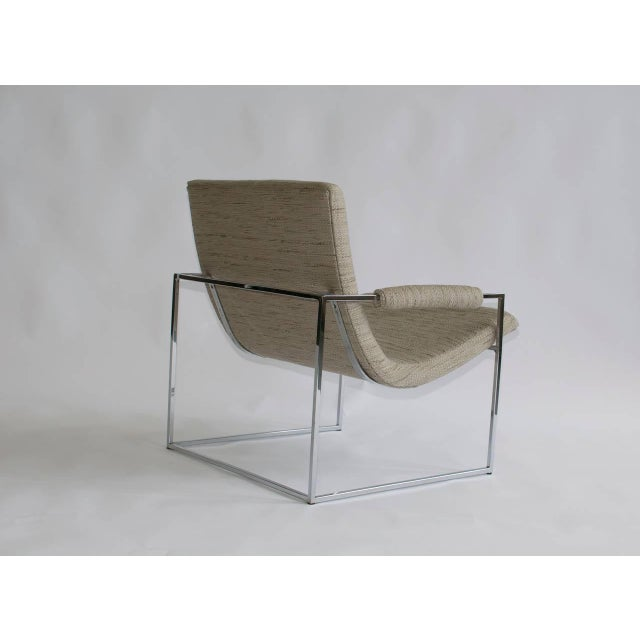 Contemporary Pair of Petite Milo Baughman Chrome Lounge Chairs For Sale - Image 3 of 7