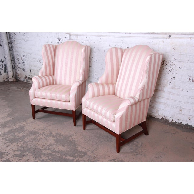 British Colonial Baker Furniture Wingback Lounge Chairs, Pair For Sale - Image 3 of 13
