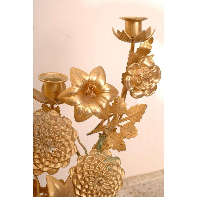 Gold Gilt Bronze Candelabras - a Pair For Sale - Image 8 of 10