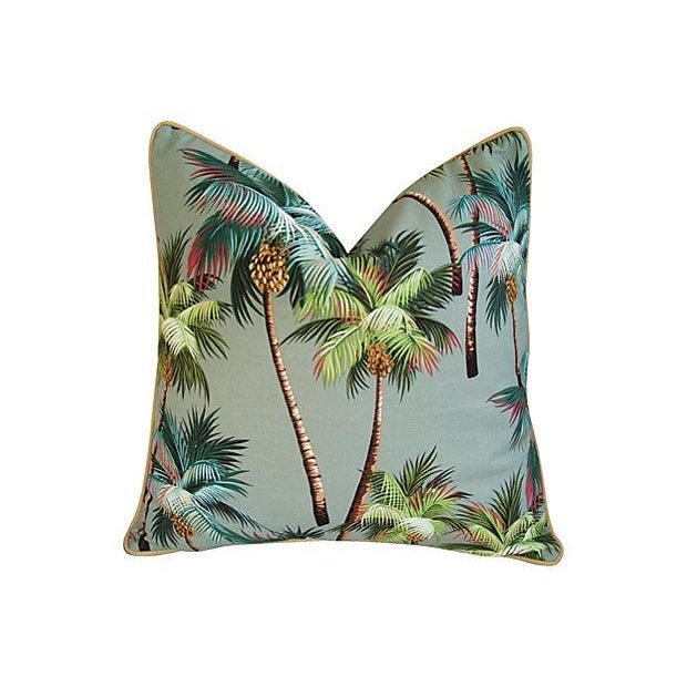 Custom Oasis Palm Tree Barkcloth Pillows- a Pair - Image 2 of 7