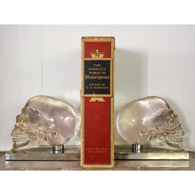 French 70's Lucite Skull Bookends For Sale - Image 3 of 7