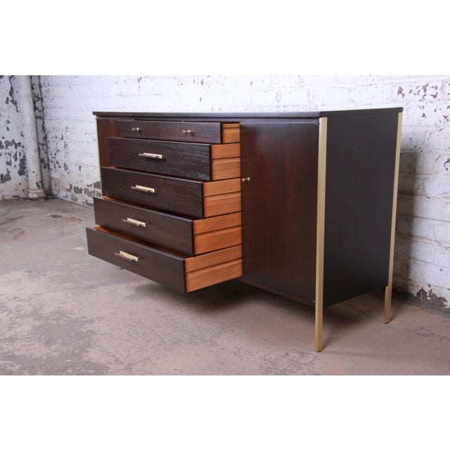 Brass Paul McCobb for Calvin Mahogany and Brass Sideboard Credenza For Sale - Image 7 of 13