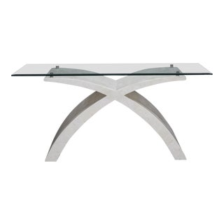 1990s Postmodern White Tessellated Stone X Base Console Table For Sale
