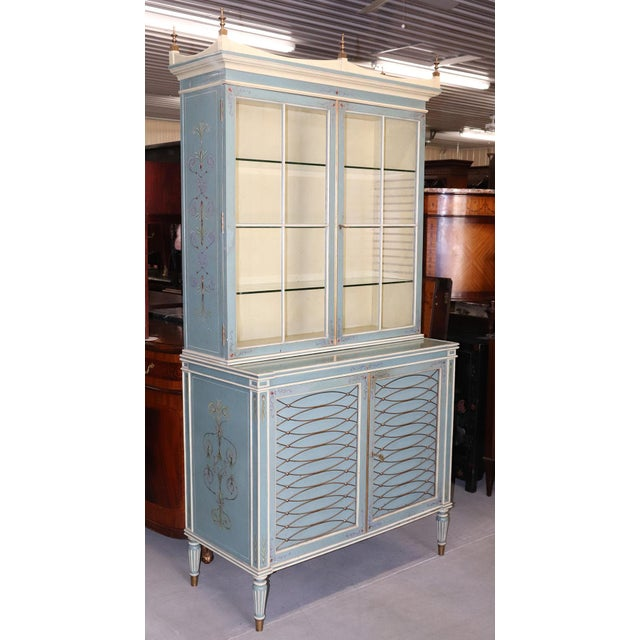 English English Regency Style Paint Decorated China Cabinet For Sale - Image 3 of 13