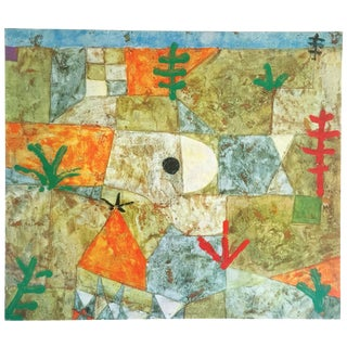 "Paul Klee Vintage 1967 Authentic Abstract Lithograph Print "" Southern Garden "" 1921 For Sale"