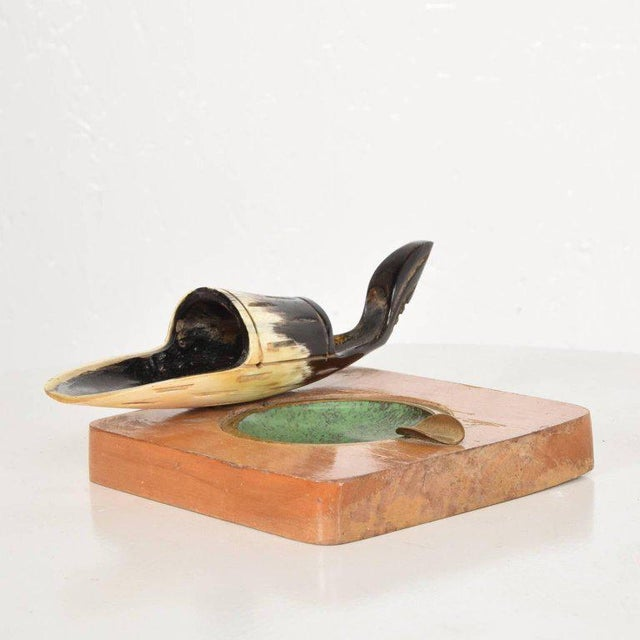 Bone Richard Rohac Horn Pipe Holder-Stand With Brass Ashtray, Austria, 1950s For Sale - Image 7 of 8