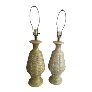 Mid Century Modern Drip Glaze Lamps - A Pair For Sale