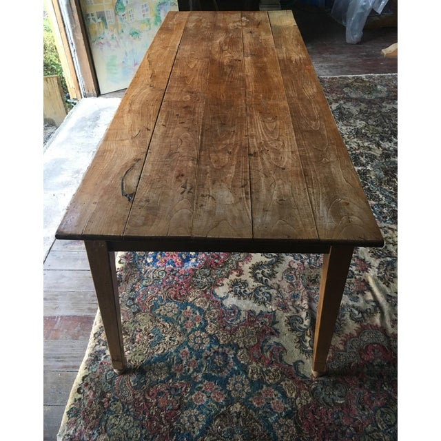 Antique Pine Farm Table For Sale - Image 4 of 10