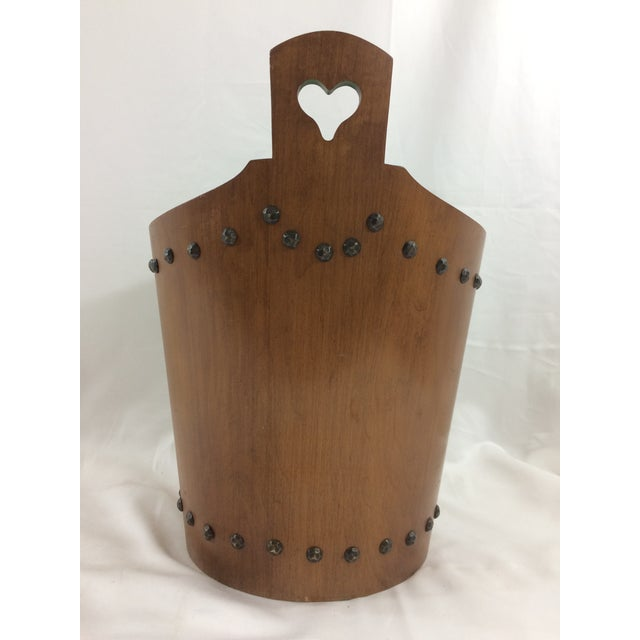 French Mid-Century Modern Teak Trash Can For Sale - Image 4 of 6