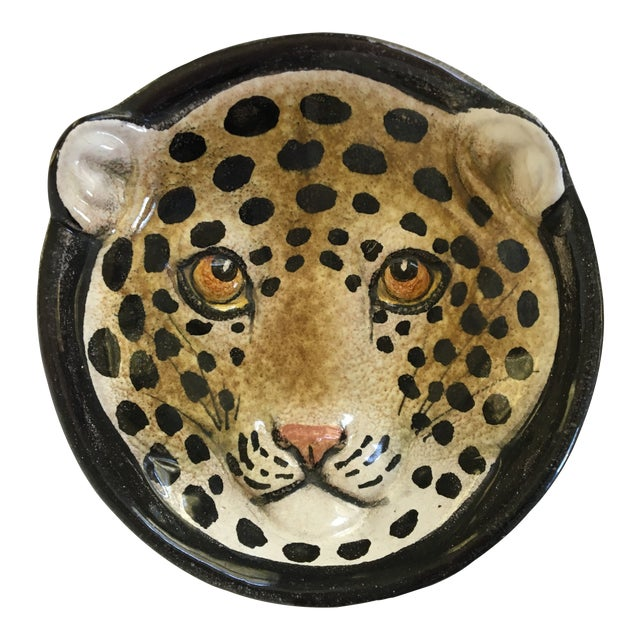 Italian Mid-Century Modern Leopard Pottery Bowl/Catchall For Sale
