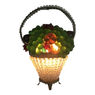 Vintage Art Deco Czech Beaded Basket Table Lamp For Sale
