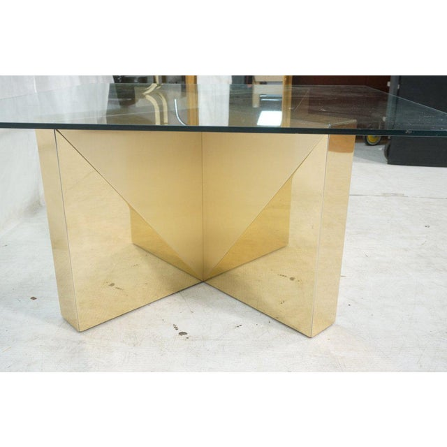 Square Gold V Base Cocktail or Coffee Table, Circa 1970 - Image 6 of 7