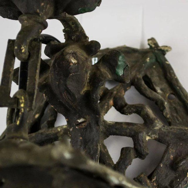 1920's American Cast Iron Garden Lantern For Sale - Image 4 of 5