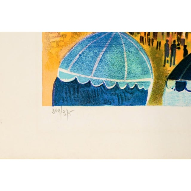 Mid-Century Modern Mid-Century Modern Fench Beach Lithograph For Sale - Image 3 of 5