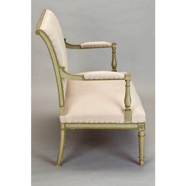 French Empire Style Painted Settee With Neutral Upholstery - Image 4 of 8