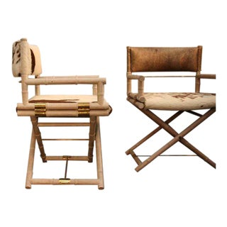 Faux Bamboo and Brass Directors Chairs- A Pair For Sale