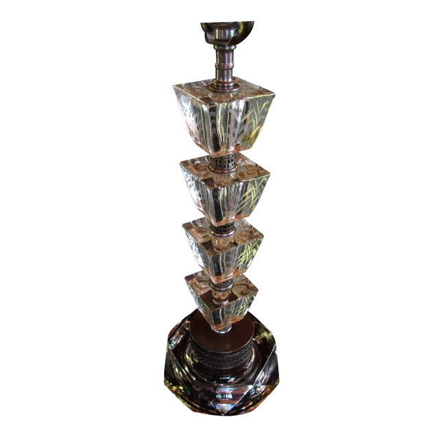 Vintage 1930s Art Deco Glass Table Lamp - Image 1 of 6