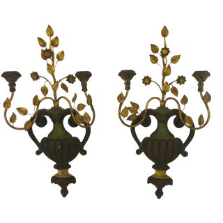 Italian Palladio Antique Wood & Iron Sconces - a Pair For Sale