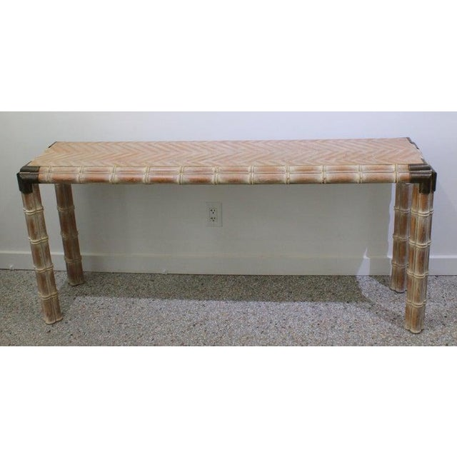 Vintage Console Table Faux Bamboo With Antique Brass Mounts For Sale In West Palm - Image 6 of 13