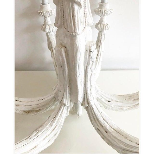 Hollywood Regency Vintage Dorothy Draper Style Draped White Chandelier For Sale - Image 3 of 13