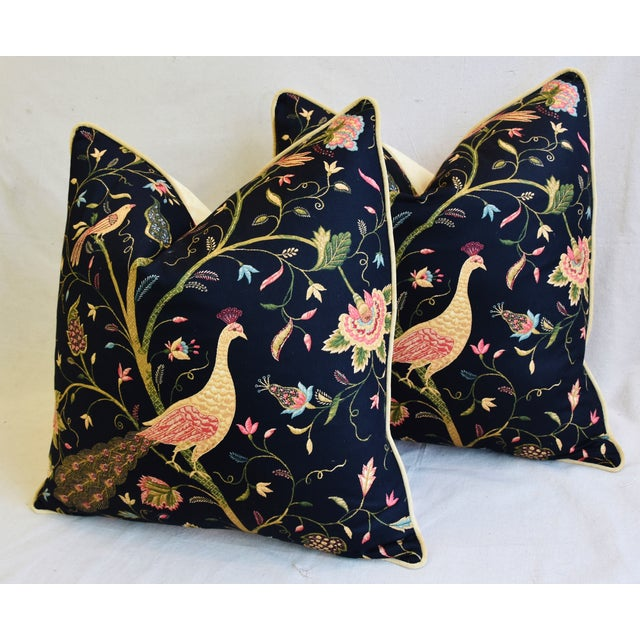 """Green Chinoiserie Peacock & Floral Asian Feather/Down Pillows 24""""- Pair For Sale - Image 8 of 13"""