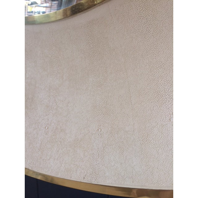 White Large Modern Round Shagreen-Style Mirror For Sale - Image 8 of 13